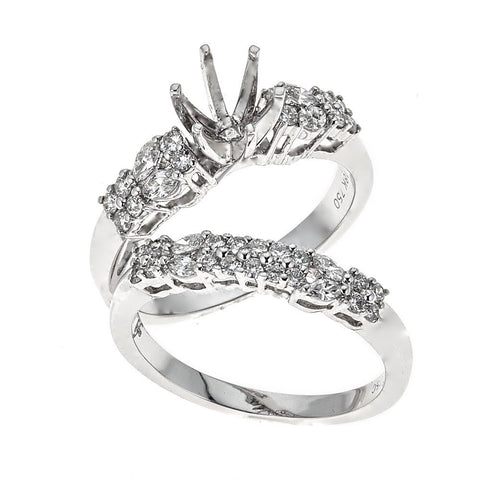18K White Gold Engagement & Wedding Ring Set