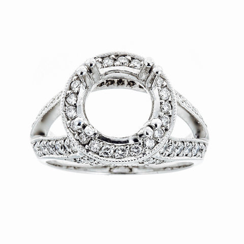 14k White Gold and Diamonds Engagement Ring