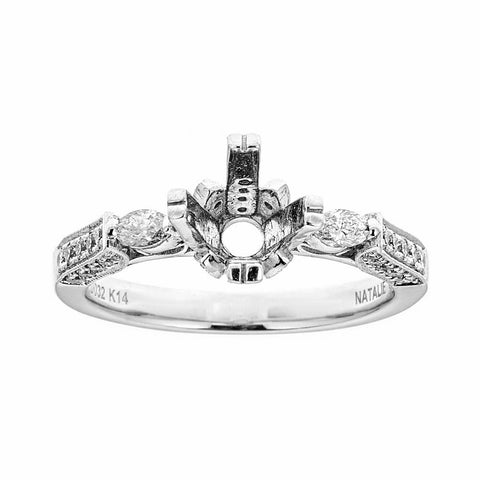 Natalie K 14k White Gold & Diamonds Engagement Ring