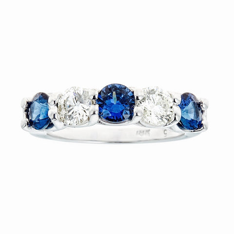 18k White Gold Diamonds and Sapphires Band