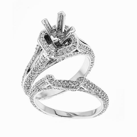 18k White Gold and Diamonds Wedding Set