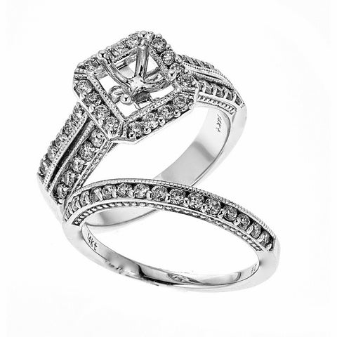 14k White Gold and Diamonds Wedding Set