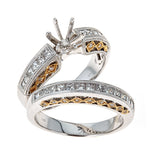 14k Two Tone Gold and Diamonds Wedding Set