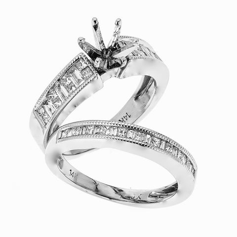 Natalie K 14k White Gold and Diamonds Wedding Set