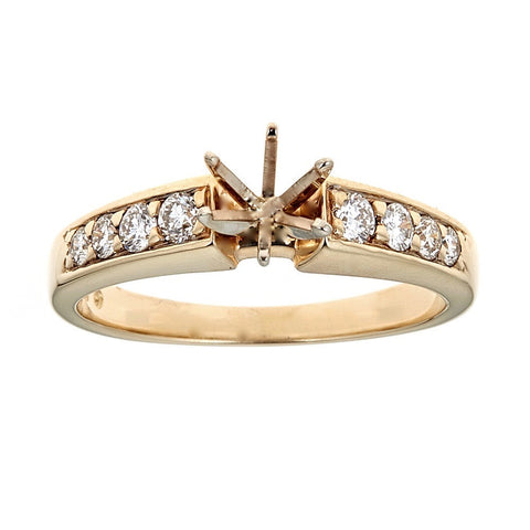 14K Yellow Gold & Diamond Engagement Ring