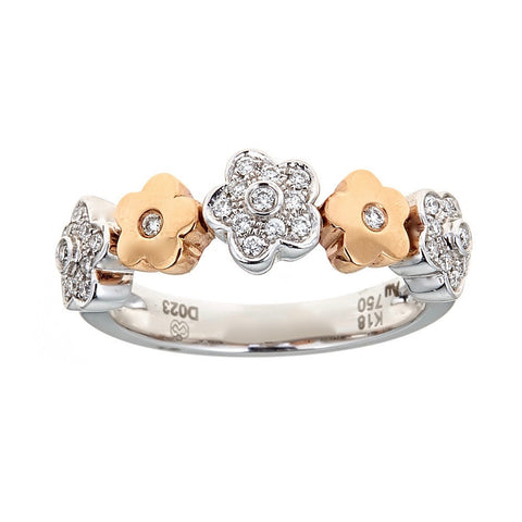 18K Two-Tone Gold & Diamond Flower Ring
