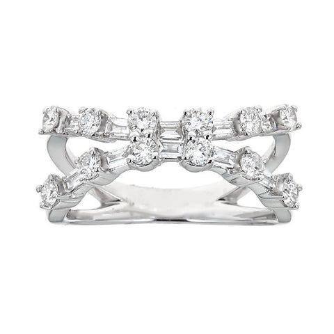 14K White Gold & Diamond Criss-Cross Ring