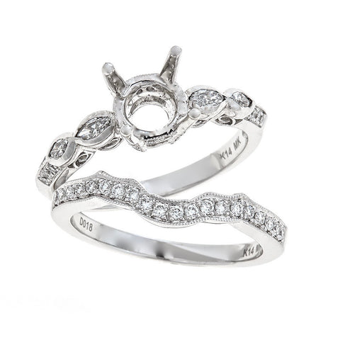 Natalie K. 14K White Gold Engagement & Wedding Ring Set