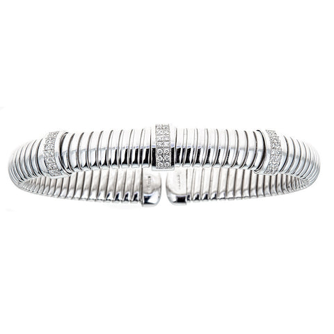 14K White Gold & Diamond Cuff Bracelet