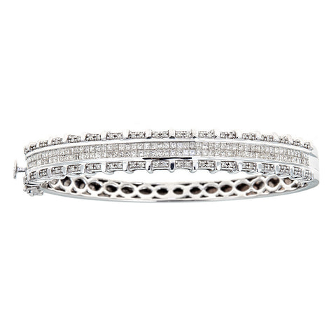 14K White Gold & Diamond Hinged Cuff Bracelet