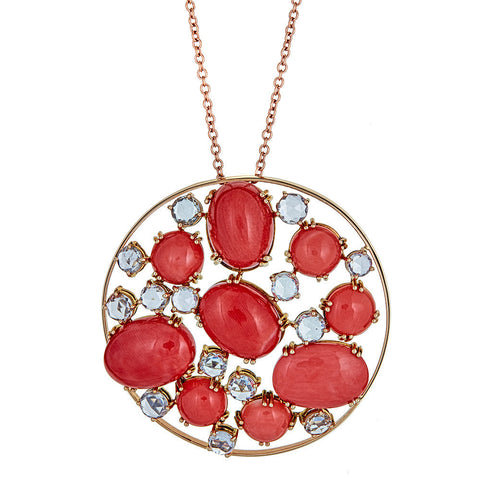 ZYDO Coral & White Sapphire 18K Rose Gold Pendant