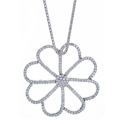 18K White Gold & Diamond Flower Pendant with 14K White Gold Chain
