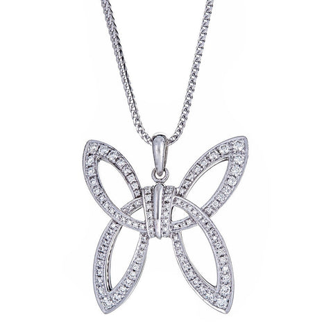 Di MODOLO 18K White Gold & Diamond Butterfly Pendant