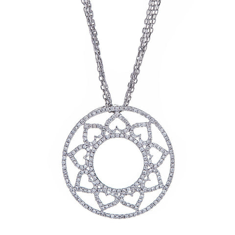 14K White Gold & Diamond Flower Pendant