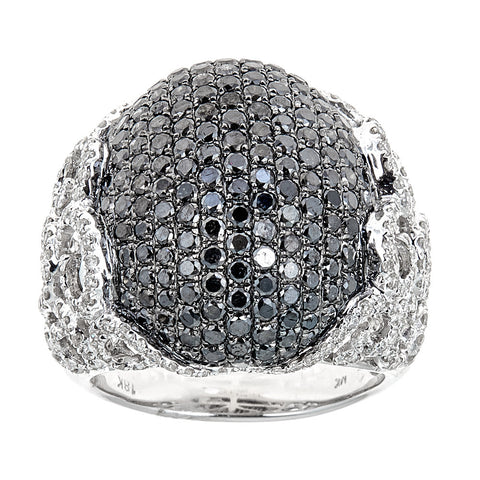 Natalie K. Black & White Diamond 18K White Gold Ring