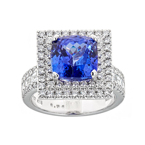Tanzanite & Diamond Ring in 18K White Gold