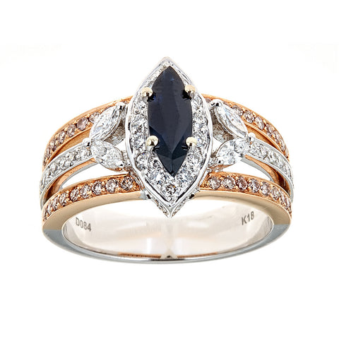 18K Gold Two-Tone Sapphire & Diamond Ring