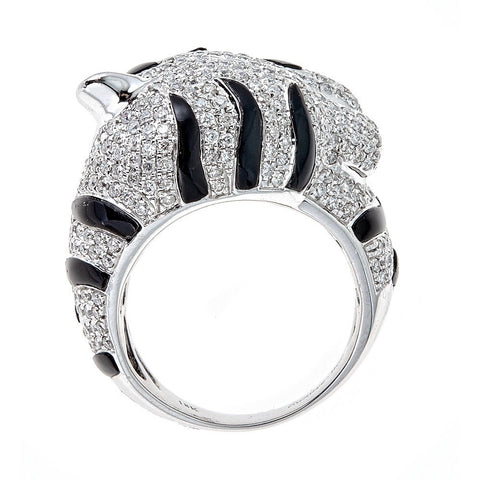 Black & White Diamond 18K White Gold Ring