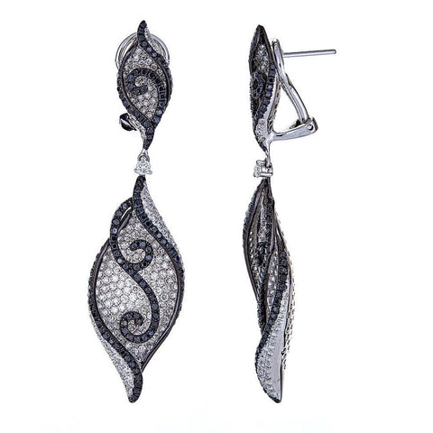 Natalie K. 14K White Gold Black & White Diamond Earrings