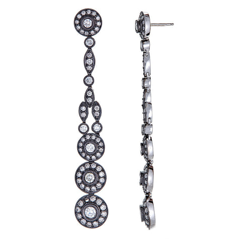 18k White Gold with Black Rhodium Patina and Diamonds Earrings.