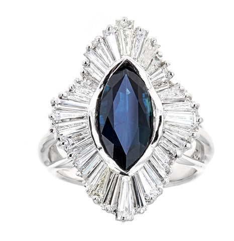 Estate Platinum Diamond & Sapphire Ring / Pendant (Convertible)