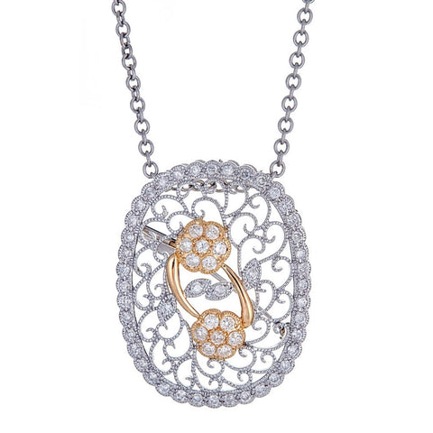 Platinum & 18K White Gold & Diamond Flower Pendant