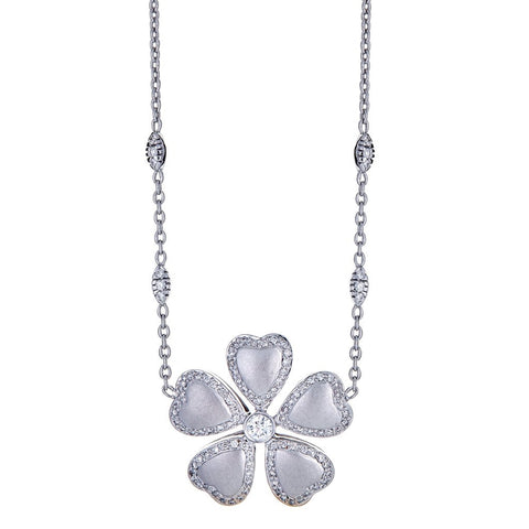 18K White Gold & Diamond Flower Necklace