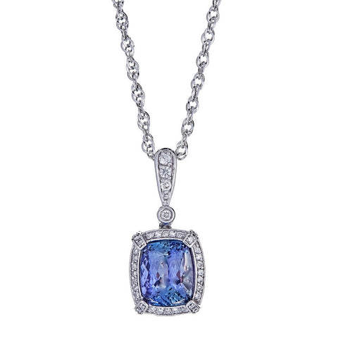 14k White Gold Diamond and Tanzanite Pendant