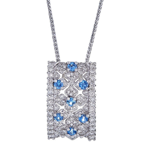 Levian 18K White Gold Sapphire & Diamond Necklace