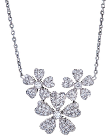 18k White Gold and Diamonds Multi-Flower Necklace