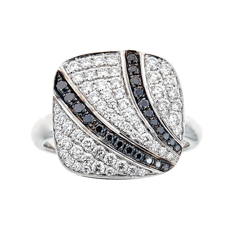 Simon G. Black & White Diamond 18K White Gold Ring