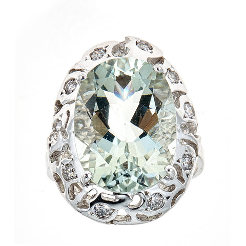 14K White Gold Aquamarine & Diamond Ring