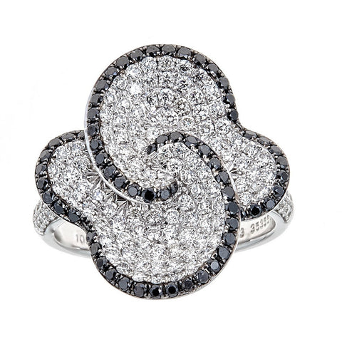 Simon G. Black & White Diamond 18K White Gold Flower Ring
