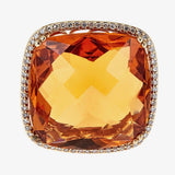 14K Yellow Gold Citrine & Diamond Ring