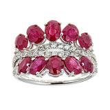 Ruby & Diamond Ring in 18K White Gold