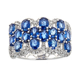 Sapphire & Diamond Ring in 18K White Gold