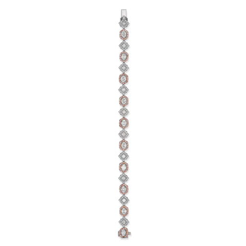 Natalie K Pink & White Diamond Bracelet in Platinum & 18K Rose Gold