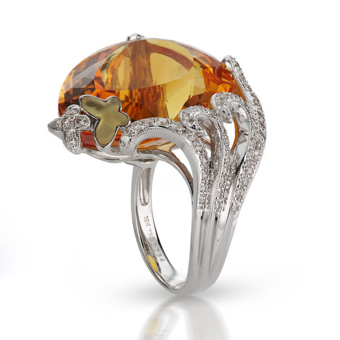 Madeira Citrine & Diamond Butterfly Ring in 18K Gold