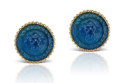 Blue Cufflinks in 18K Yellow Gold