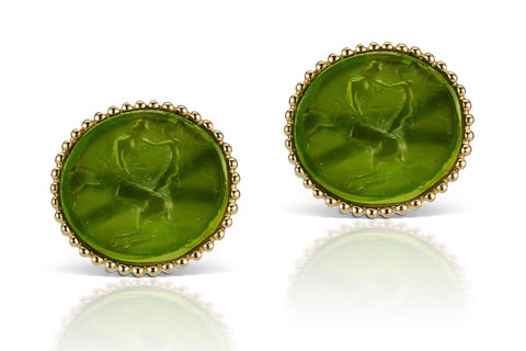 Green Cufflinks in 18K Yellow Gold