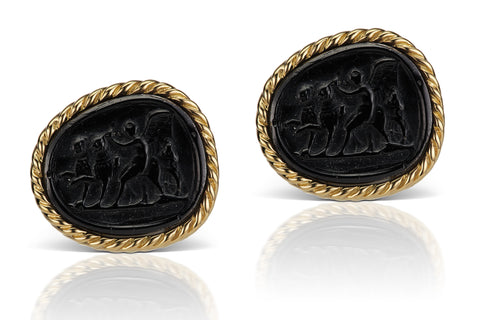 Black Cufflinks in 18K Yellow Gold