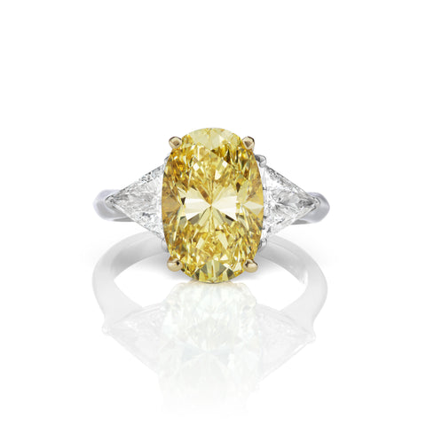 Yellow Diamond & White Diamond Ring in 18K White Gold