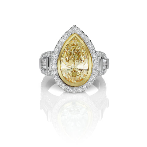 Yellow & White Diamond Ring in 18K White Gold