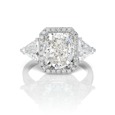 Cushion Cut Diamond Ring in 18K White Gold