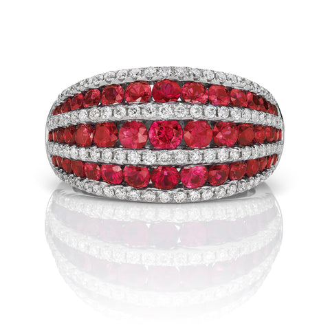 Gregg Ruth Ruby & Diamond Ring in 18K White Gold