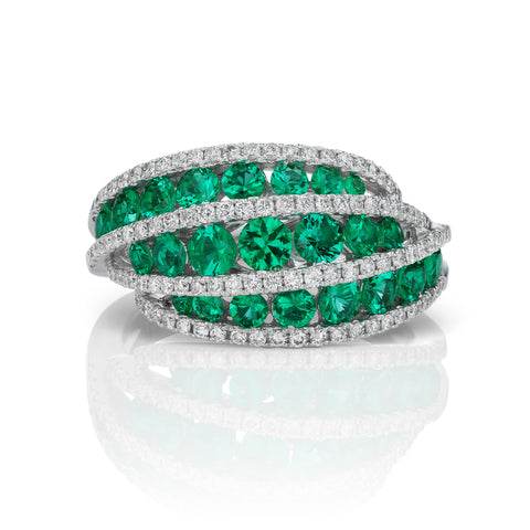 Gregg Ruth Emerald & Diamond Ring in 18K White Gold
