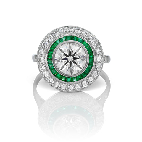 Diamond & Emerald Ring in Platinum