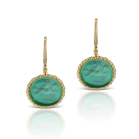 Sea Green Earrings in 18K Yellow Gold
