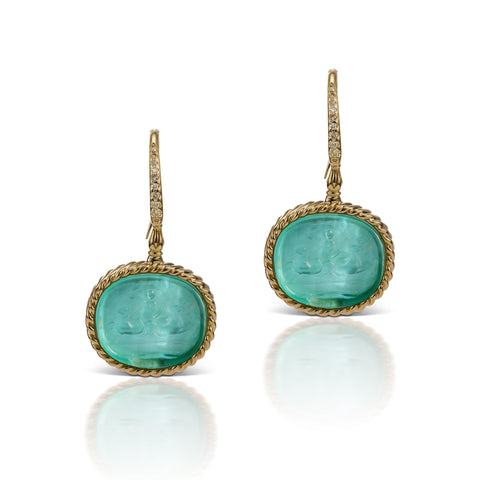 Light Blue Earrings in 18K Yellow Gold