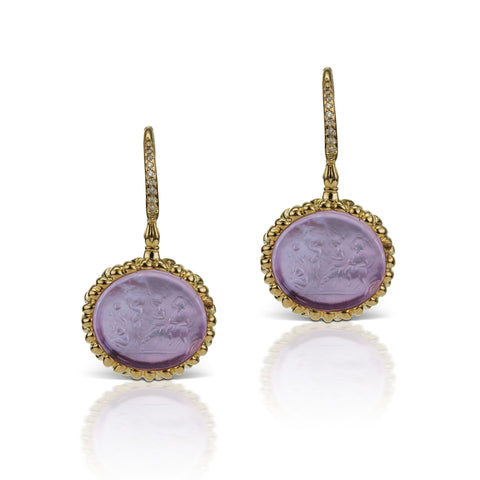 Lavender Earrings in 18K Yellow Gold